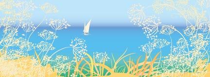 Vista sul mare con la barca a vela illustrazione vettoriale