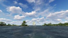 Vista sul mare con la barca a vela Immagini Stock