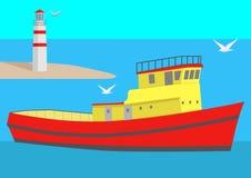 Vista sul mare con la grandi nave, faro e gabbiani, illustrazione illustrazione di stock