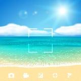Vista sul mare con la spiaggia Vector l'illustrazione, EPS10 Immagini Stock Libere da Diritti