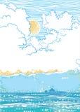 Vista sul mare con le nubi Fotografia Stock Libera da Diritti