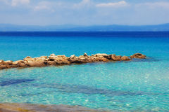 Vista sul mare da Kalithea, Halkidiki Fotografia Stock Libera da Diritti