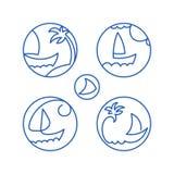 Vista sul mare dei pittogrammi delle icone Fotografia Stock Libera da Diritti