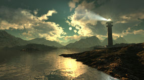 Vista sul mare del faro royalty illustrazione gratis