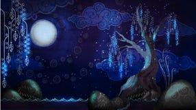 Vista sul mare del fumetto con la luna e l'albero Fotografia Stock