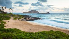 Vista sul mare del parco della spiaggia di Makapuu Fotografia Stock Libera da Diritti