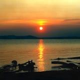 Vista sul mare del tramonto con gli strappi sulla priorità alta del litorale Fotografie Stock Libere da Diritti