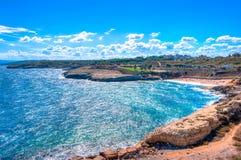Vista sul mare della costa della Sardegna nel hdr - torres di Oporto, spiaggia di balai Fotografia Stock