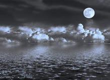 Vista sul mare della luna Fotografie Stock
