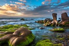Vista sul mare della natura con i massi, le rocce ed i muschi verdi all'alba immagini stock libere da diritti