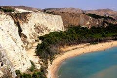 Vista sul mare della spiaggia di Eraclea Minoa, Italia fotografia stock