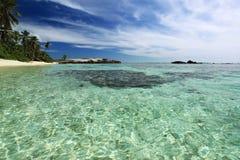 Vista sul mare delle Seychelles. Immagine Stock