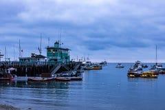 Vista sul mare di alba di primo mattino in Avalon Harbor che guarda verso il pilastro verde Fotografia Stock Libera da Diritti
