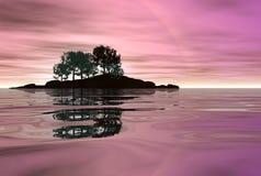 Vista sul mare di colore rosa caldo Fotografia Stock