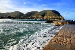 Vista sul mare di Mondello. Isola della Sicilia Immagini Stock