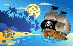 Vista sul mare di notte con la nave di pirata 1 Fotografia Stock Libera da Diritti