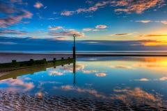 Vista sul mare di tramonto Immagini Stock Libere da Diritti