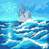 Vista sul mare di vettore con una nave da guerra Immagini Stock Libere da Diritti