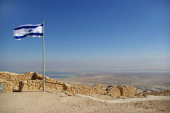 Vista sul mare guasto dalla fortezza di Masada Immagine Stock