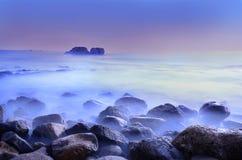 Vista sul mare lunga del colpo di esposizione Fotografie Stock Libere da Diritti
