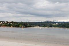 Vista sul mare pacifica in Galizia Immagine Stock