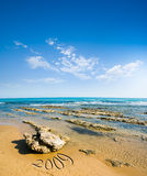 Vista sul mare per la spiaggia, il mare ed il cielo nuvoloso Immagine Stock Libera da Diritti