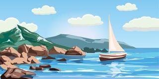 Vista sul mare, rocce, scogliere, un yacht sotto la vela, oceano, spuma, stile del fumetto, illustrazione di vettore royalty illustrazione gratis