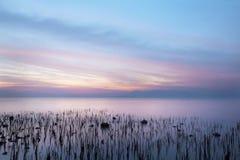 Vista sul mare - scena di tramonto Fotografia Stock