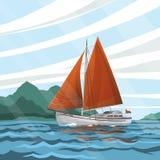Vista sul mare stilizzata con la barca a vela che galleggia sulle onde Immagine Stock