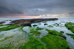 Vista sul mare stupefacente al tramonto Fotografia Stock Libera da Diritti