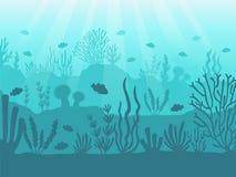 Vista sul mare subacquea Barriera corallina dell'oceano, fondo del mare profondo e nuoto sotto l'acqua Vettore marino del fondo d