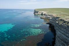 Vista sul modulo del Mar Nero l'alta scogliera Immagini Stock