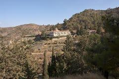 Vista sul monastero Machairas Cipro Fotografie Stock Libere da Diritti