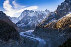 Vista sul paesaggio Mer de Glace della montagna della Svizzera Fotografie Stock Libere da Diritti