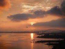 Vista sul ponte di Bayonne al tramonto immagine stock libera da diritti
