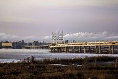 Vista sul ponte di cavo e del raccordo anulare sull'isola di Vasilievsky Immagine Stock Libera da Diritti
