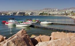 Vista sul porticciolo con le barche attraccate in Eilat, Israele Fotografia Stock