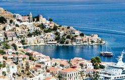 Vista sul porto dell'isola di Symi Fotografie Stock Libere da Diritti
