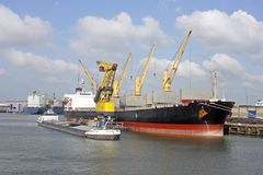Vista sul porto di Rotterdam Immagine Stock