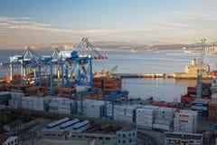 Vista sul porto marittimo Valparaiso, Cile Fotografie Stock Libere da Diritti