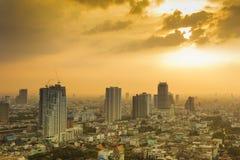 Vista sul tramonto nella città di Bangkok Immagine Stock Libera da Diritti