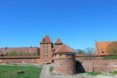 Vista sul vecchio castello tedesco in Malbork. Fotografie Stock Libere da Diritti