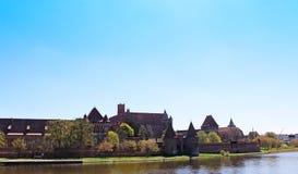 Vista sul vecchio castello tedesco in Malbork. fotografia stock libera da diritti