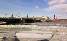 Vista sull'isola di Vasilevsky Fotografia Stock Libera da Diritti