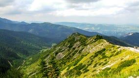 Vista sull'itinerario fra il riparo di Polana Jaworzynka e di Murowaniec in Tatra in Polonia Fotografia Stock