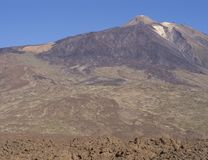 Vista sull'più alta montagna spagnola variopinta di volcano pico del teide Fotografie Stock