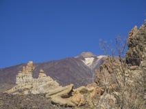 Vista sull'più alta montagna spagnola variopinta di volcano pico del teide Fotografia Stock