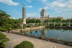 Vista sull'università dal tempio di Nanputuo a Xiamen immagine stock libera da diritti
