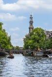 Vista sulla chiesa occidentale, Amsterdam, Paesi Bassi fotografie stock libere da diritti