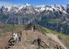 Vista sulla cima del Mt Schilthorn Fotografie Stock Libere da Diritti